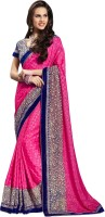Jiya Self Design, Embroidered Fashion Jacquard, Net Saree(Pink)