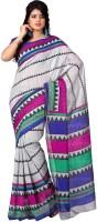 Womantra Geometric Print Bhagalpuri Synthetic Saree(Multicolor)