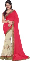 Florence Embroidered Bollywood Synthetic Chiffon Saree(Pink, Beige)