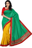 Saree Swarg Solid Bollywood Tussar Silk Saree(Yellow, Green)