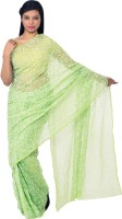 Knool Self Design Lucknow Chikankari Handloom Georgette Saree(Light Green)