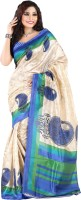 Vastrakala Printed Fashion Cotton, Silk Saree(Blue, Beige)