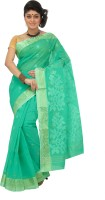 Mrsaree Self Design Tant Handloom Cotton Saree(Light Blue)