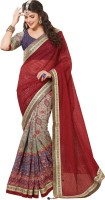 Saara Embroidered Fashion Silk Saree(Red, Blue)