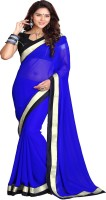 Sourbh Sarees Solid Fashion Georgette Saree(Blue)