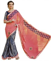 Patiala House Printed, Embroidered Fashion Georgette Saree(Pink, Grey)