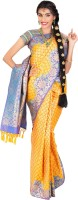 Thara Sarees Self Design Kanjivaram Art Silk Saree(Light Blue, Yellow)