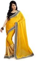 Florence Embroidered Fashion Satin Saree(Yellow)