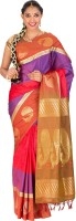 Thara Sarees Self Design Kanjivaram Art Silk Saree(Red, Blue)