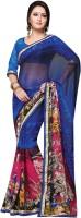Vibes Printed Fashion Georgette Saree(Blue)