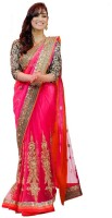Aksh Fashion Self Design Bollywood Net Saree(Pink)