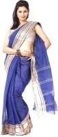 Purabi Woven Tant Handloom Cotton Saree(Blue)