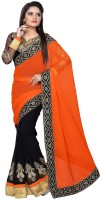 Nairiti Fashions Solid Bollywood Georgette, Chiffon Saree(Orange, Black)
