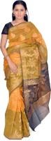 Jagadamba Floral Print Fashion Silk Saree(Green, Orange)