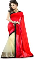 Winza Embroidered, Embellished, Solid Fashion Chiffon, Net Saree(Red, Beige)