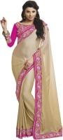 Admyrin Solid Fashion Crepe, Silk Saree(Beige, Pink)