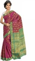 Alankrita Self Design, Printed Kanjivaram Art Silk, Jacquard Saree(Green, Pink)