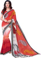 Vastrani Embroidered Fashion Georgette Saree(White, Pink)