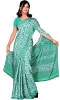 Khoobee Printed Fashion Poly Crepe Saree(Green, White)