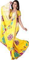 Jiya Self Design, Printed, Embellished Fashion Poly Georgette Saree(Multicolor, Yellow)