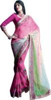 Valeska Printed Fashion Poly Georgette, Chiffon Saree(Pink)
