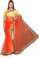 De Marca Solid Fashion Net Saree(Orange)