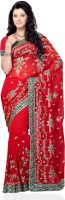 JTInternational Self Design Fashion Net Saree(Multicolor)