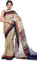 SAS Creations Printed Maheshwari Cotton Blend, Polycotton Saree(Beige)