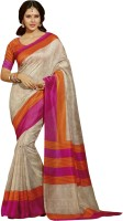 Bhavi Printed Maheshwari Art Silk Saree(Multicolor)