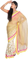 Jagadamba Solid Fashion Tissue Saree(Gold)