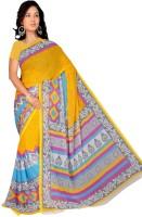 Khoobee Printed Fashion Chiffon Saree(Multicolor, Yellow)