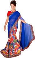 Jiya Self Design, Printed Daily Wear Poly Georgette Saree(Multicolor, Blue)