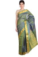 Indian Artizans Woven Kanjivaram Pure Silk Saree(Green)