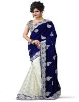 Stylo Designer Self Design Fashion Handloom Net, Velvet Saree(Blue, White)