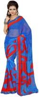 Patankar Fab Printed Bollywood Synthetic Chiffon Saree(Blue)