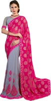 Khoobee Self Design, Embroidered, Embellished Fashion Cotton Blend, Chiffon Saree(Pink, Grey)