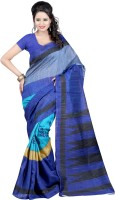 Indrani Solid, Printed Bollywood Georgette Saree(Blue, Black)