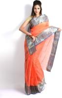 Purabi Woven Tant Handloom Cotton Saree(Pink)