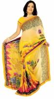 Womantra Floral Print Fashion Chiffon Saree(Multicolor)