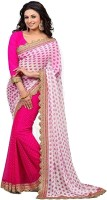 Rozdeal Printed Fashion Georgette Saree(Pink, Beige)