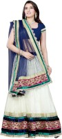 JTInternational Geometric Print Lehenga Saree Net Saree(White, Blue)