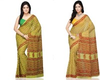 Fab Rajasthan Printed Fashion Handloom Cotton Saree(Pack of 2, Multicolor)
