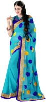 Khoobee Self Design, Embroidered Fashion Georgette Saree(Light Blue, Blue)