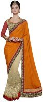 Desi Butik Embellished Fashion Jacquard, Georgette Saree(Orange, Beige)