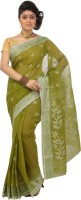 Mrsaree Self Design Tant Handloom Cotton Saree(Green)
