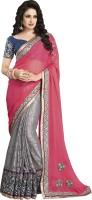Bhavi Embroidered Fashion Georgette Saree(Pink)