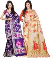 Weavedeal Embellished Kanjivaram Silk Cotton Blend Saree(Pack of 2, Blue, Beige)