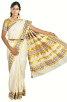 Fashionkiosks Self Design, Embroidered Balarampuram Handloom Cotton Saree(Multicolor)