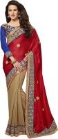 Ishin Self Design Fashion Chiffon Saree(Beige)