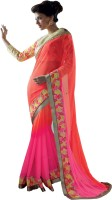 Admyrin Self Design, Solid Fashion Chiffon Saree(Pink, Orange)